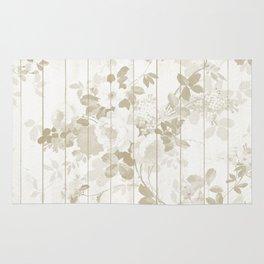 Rustic vintage white wood bohemian brown floral Rug