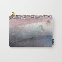 Rose Gold Blush Pink & Blue Watercolor Carry-All Pouch