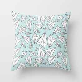 Paper Airplanes Mint Throw Pillow