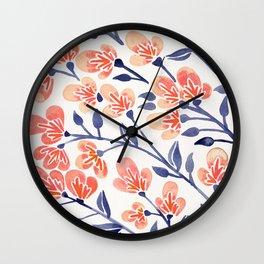Cherry Blossoms – Peach & Navy Palette Wall Clock