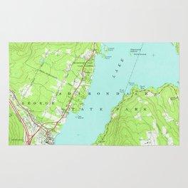 Vintage Map of Lake George New York (1966) 2 Rug