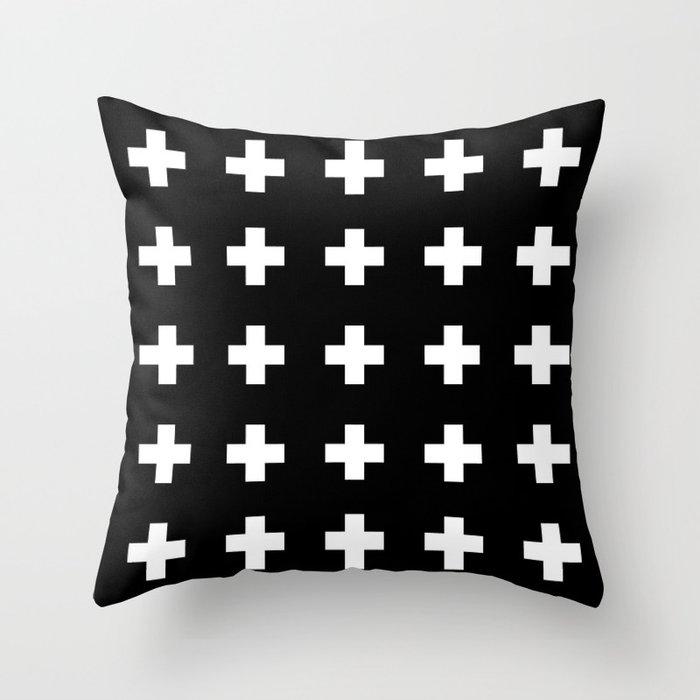 Swiss Cross Black Throw Pillow