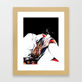 Woman wears a traditional kimono, Naked Body, Fashion illusration, Bueaty Portrait Framed Art Print