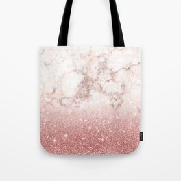 Elegant Faux Rose Gold Glitter White Marble Ombre Tote Bag