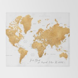 For God so loved the world, world map in gold Throw Blanket