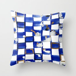Blue and White Checks Throw Pillow