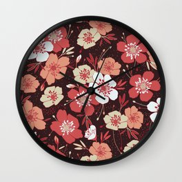 Coral flower pattern Wall Clock