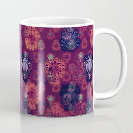 Lotus flower - fire on mulberry woodblock print style pattern Coffee Mug