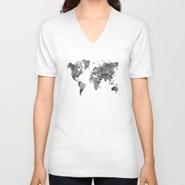 World map in watercolor gray Unisex V-Neck
