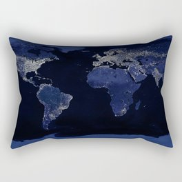Earth at Night with the lights of most populated cities Rectangular Pillow