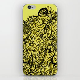 Squirrels Zentangle Drawing Yellow iPhone Skin
