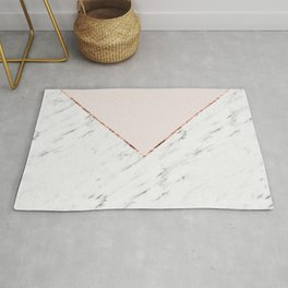 Peony blush geometric marble Rug