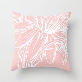 Simple Pink Botanical Line Drawing Throw Pillow