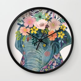 Elephant with flowers on head Wall Clock
