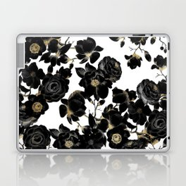 Modern Elegant Black White and Gold Floral Pattern Laptop & iPad Skin