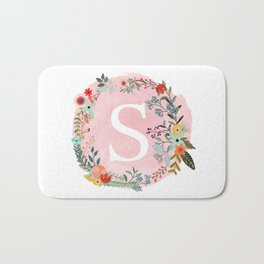 Flower Wreath with Personalized Monogram Initial Letter S on Pink Watercolor Paper Texture Artwork Bath Mat