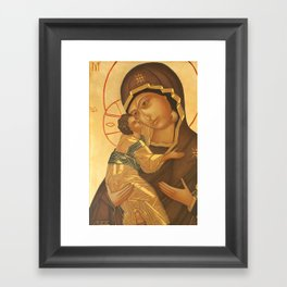 Orthodox Icon of Virgin Mary and Baby Jesus Framed Art Print