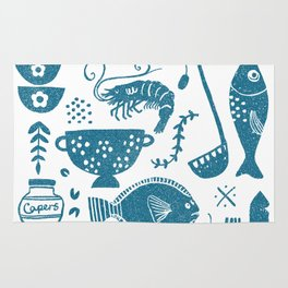 Fish supper textured print pattern Rug
