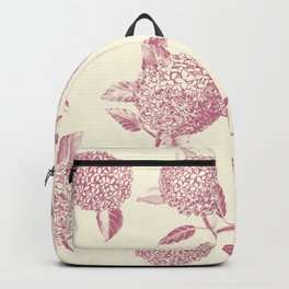 Big lush hydrangea flowers on off-white background seamless pattern. Pale pink. Atemporal, classic. Backpack