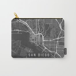 San Diego Map, California USA - Charcoal Portrait Carry-All Pouch