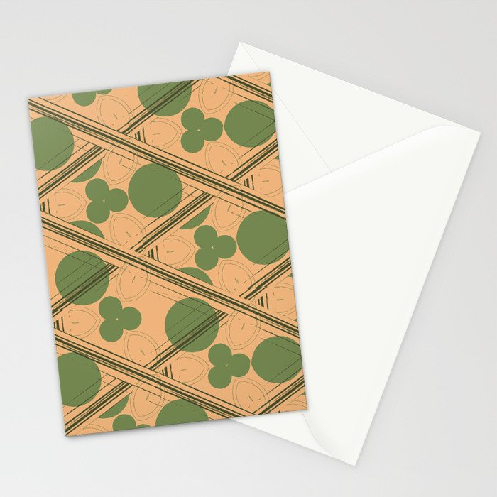 Retro Peach and Green Geometric  Stationery Cards