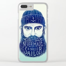 CALM SEAS NEVER MADE A SKILLED (Blue) Clear iPhone Case