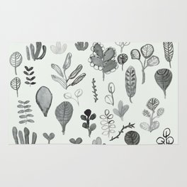 black and white magic forest Rug