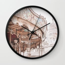 Montmartre Paris Carousel with Sacre Coeur Wall Clock