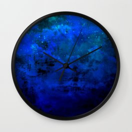 SECOND STAR TO THE RIGHT Rich Indigo Navy Blue Starry Night Sky Galaxy Clouds Fantasy Abstract Art Wall Clock