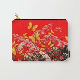 RED GARDEN ART OF YELLOW BUTTERFLIES & LACEY FLOWERS Carry-All Pouch