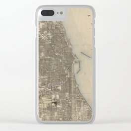 Vintage Map of Chicago (1899) Clear iPhone Case