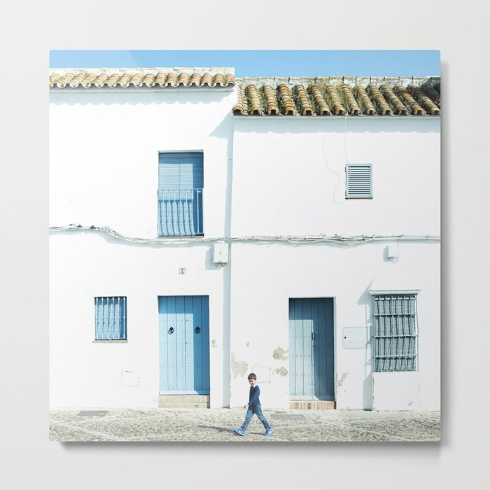 White and blue town Metal Print