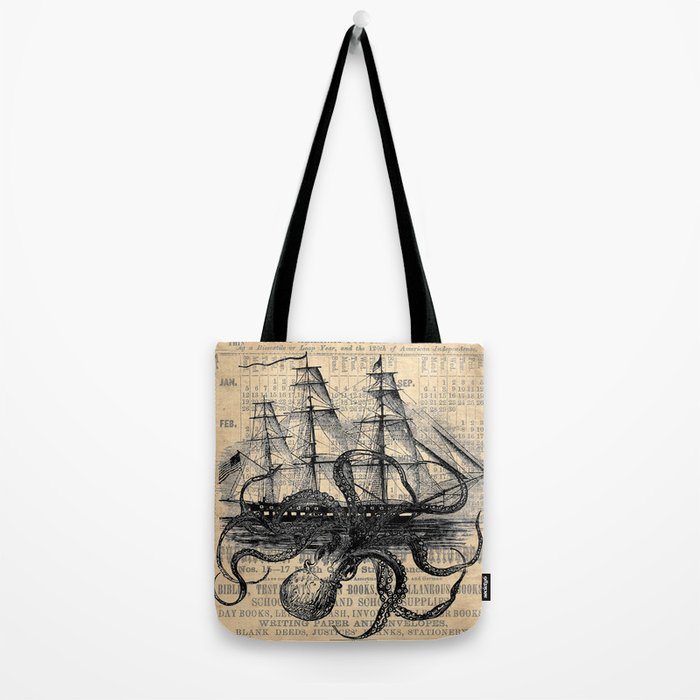 Octopus Kraken attacking Ship Antique Almanac Paper Tote Bag