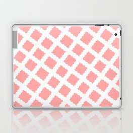 Coral Pink & White Diagonal Grid Pattern - Black & Pink - Mix & Match with Simplicity of Life Laptop & iPad Skin