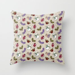 Snowmen and Robins, Holly and Stockings Throw Pillow