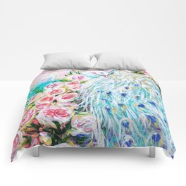 White peacock and roses Comforters