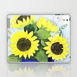 Watercolor sunflower bouquet in bucket Laptop & iPad Skin