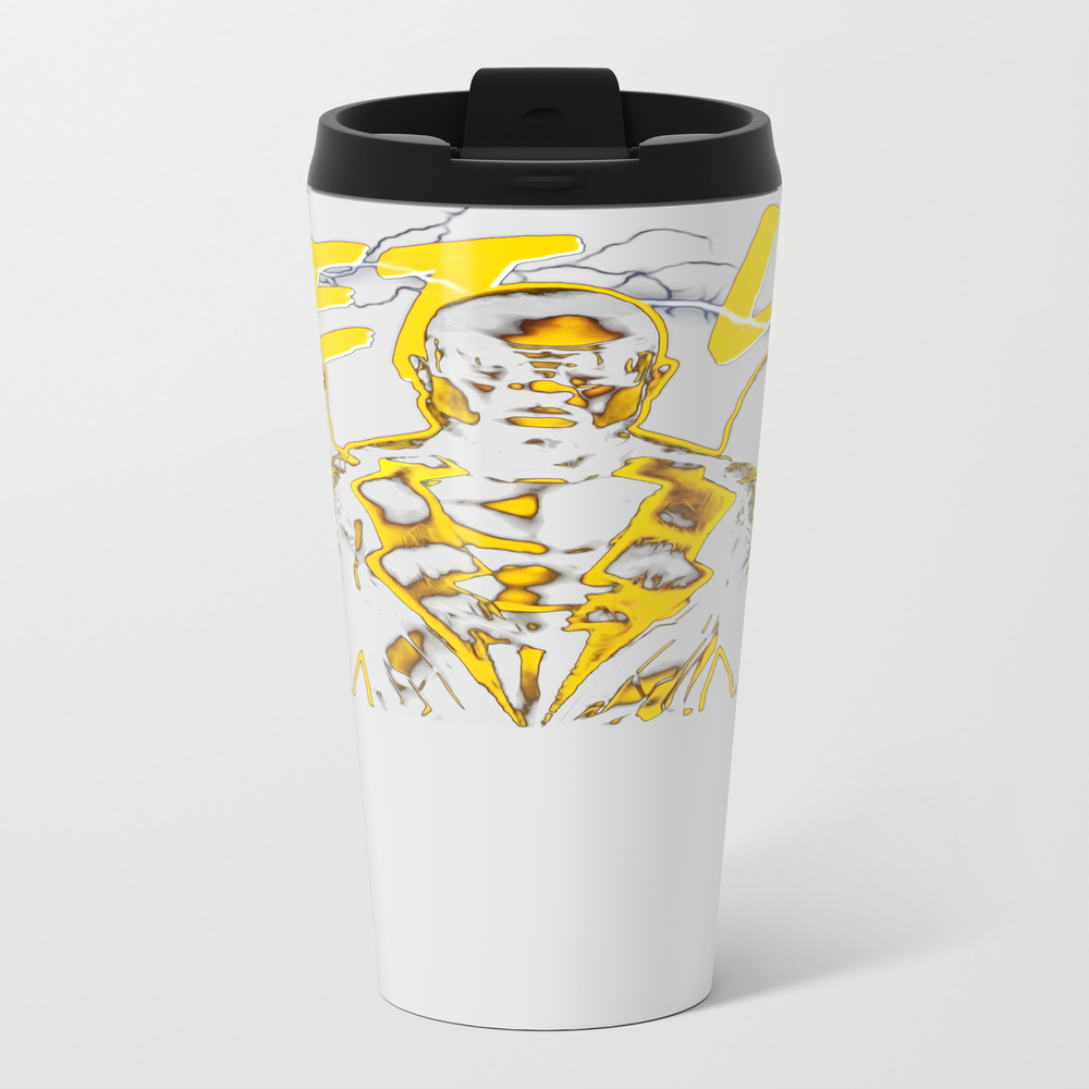 Black Lightning: Get Lit Metal Travel Mug by Thadesign MTM8955059