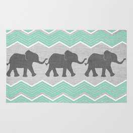 Three Elephants - Teal and White Chevron on Grey Rug