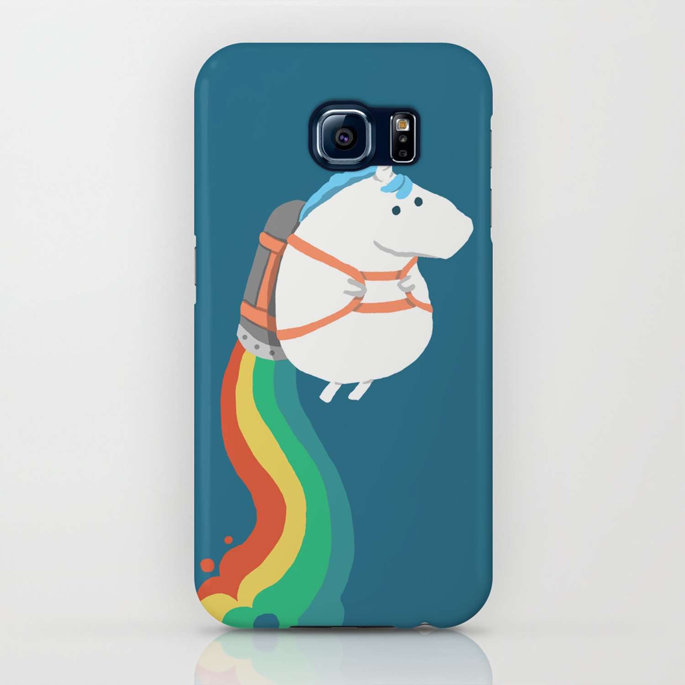 Fat Unicorn on Rainbow Jetpack iPhone Case
