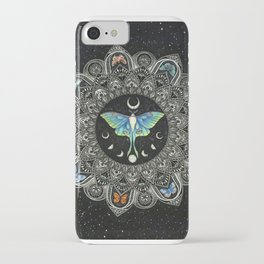 Lunar Moth Mandala with Background iPhone Case