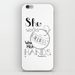 Embroider Willingly, Embroidery Quote iPhone Skin