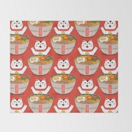 Liter of Ramen. Japanese soup and Manekineko cat. Throw Blanket