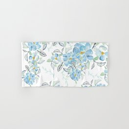 Blue flower garden watercolor Hand & Bath Towel