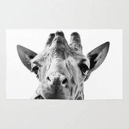 Giraffe Portrait Black and White Rug