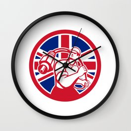 British Cable Installer Union Jack Flag Icon Wall Clock