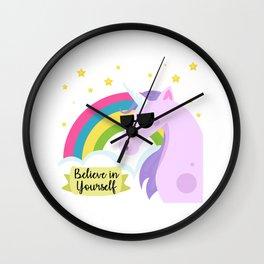 Inspirational unicorn with sunglasses Wall Clock