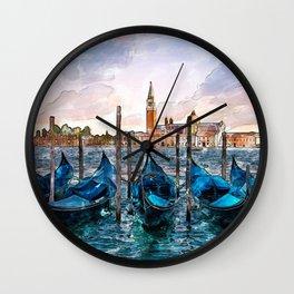 Gondolas in Venice Wall Clock