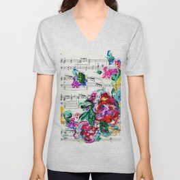 Musical Beauty - Floral Abstract - Piano Notes Unisex V-Neck
