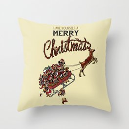 Pugs Christmas Throw Pillow